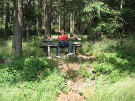 Person entspannt auf einer Bank im Wald